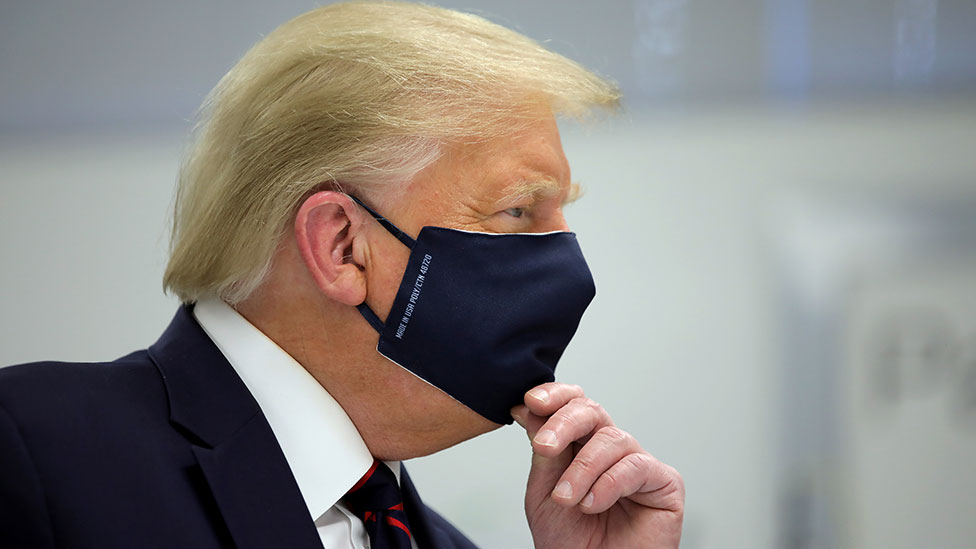 President Trump wearing a mask