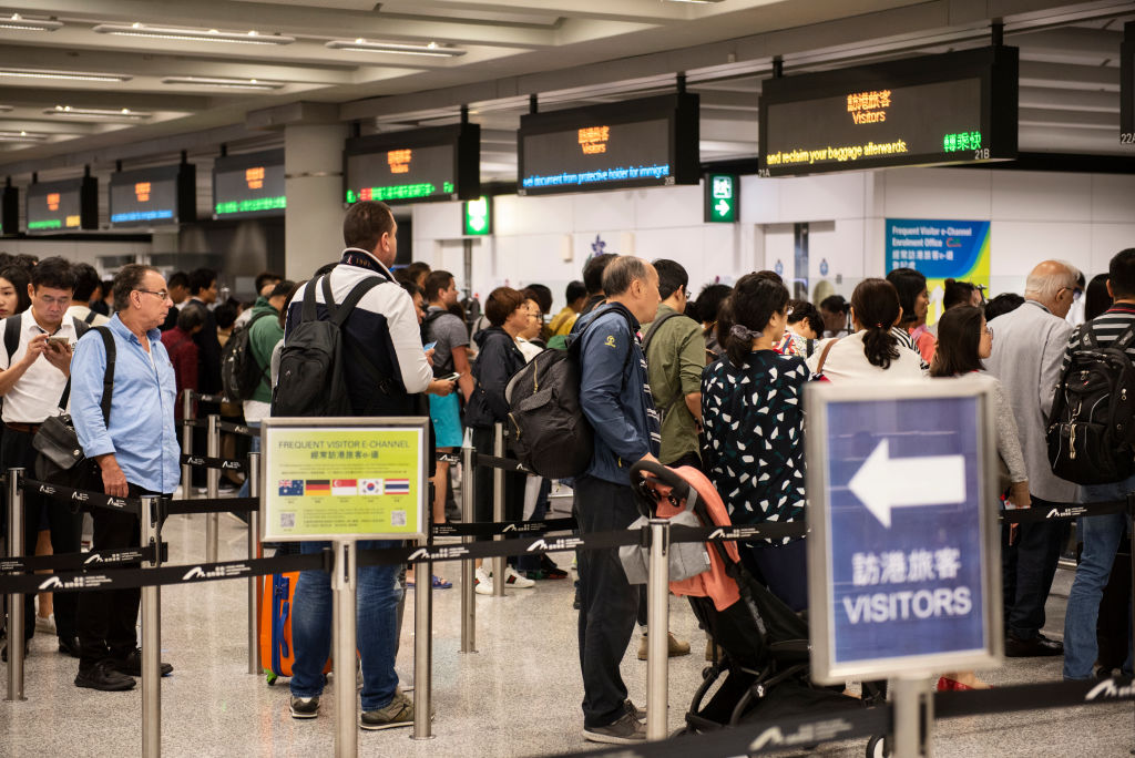 Immigration queue at Hong Kong International Airport