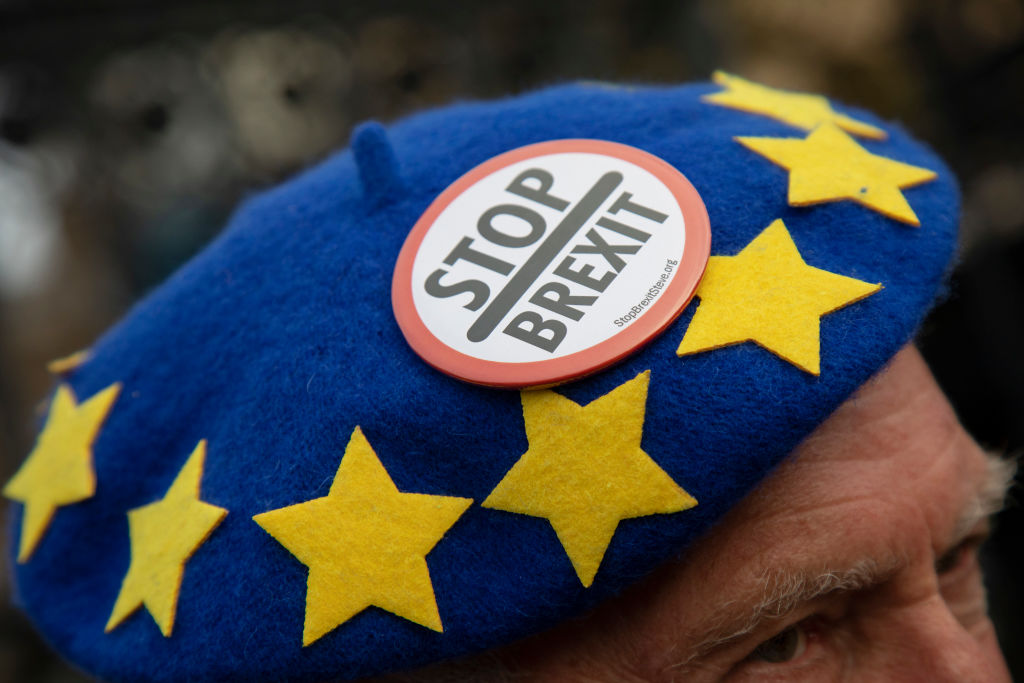 Man with EU flag hat