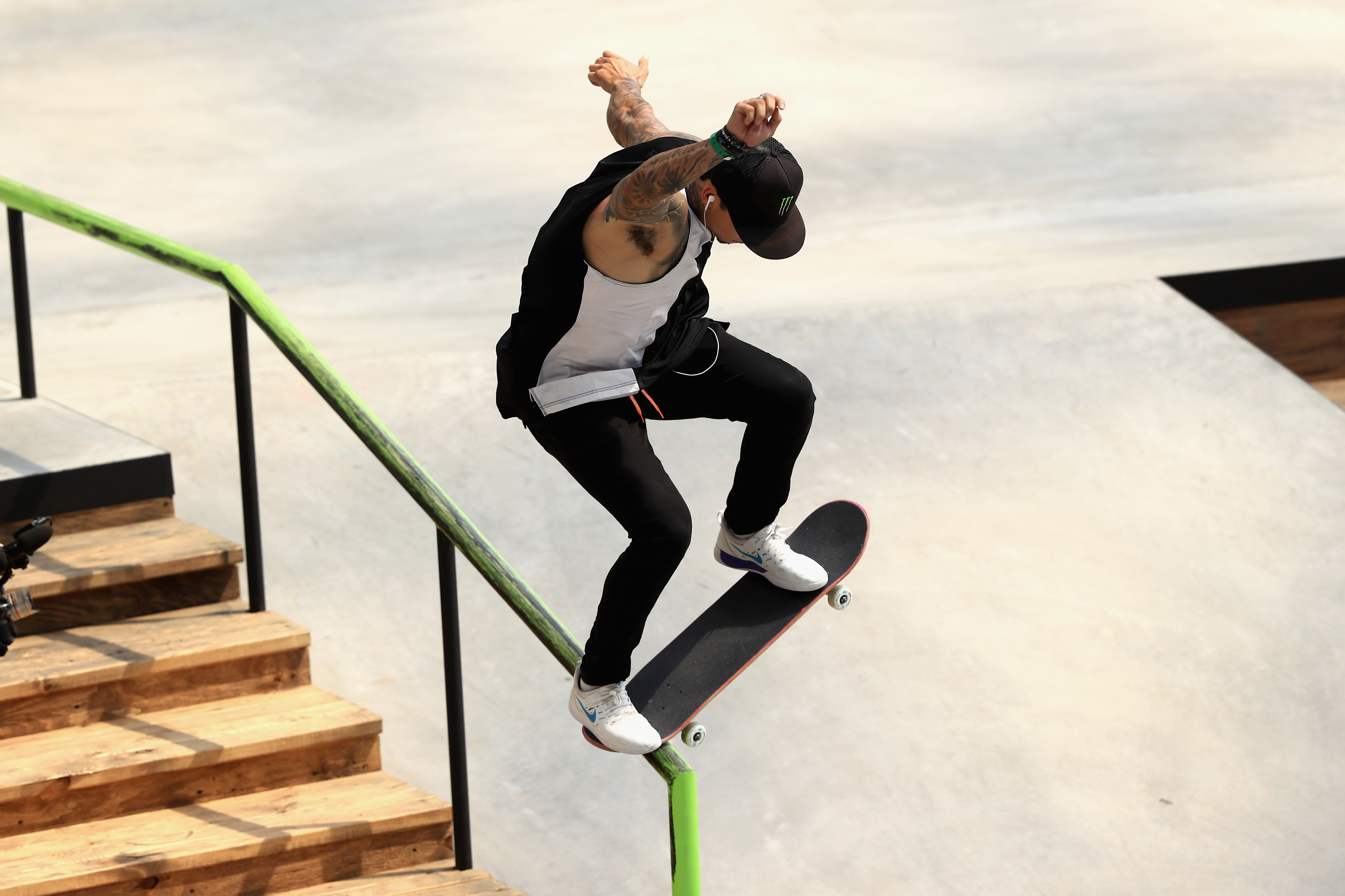 Nyjah Huston competes in the Men's Skateboard Street during the ESPN X Games at U.S. Bank Stadium on July 22, 2018 in Minneapolis, Minnesota.