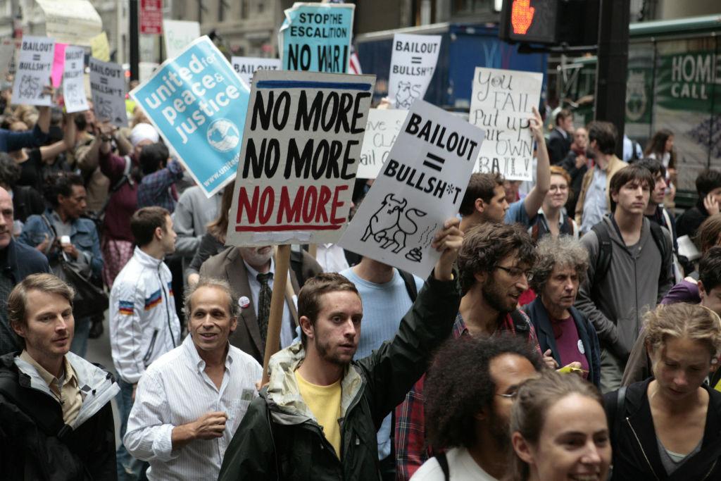 Protesta durante a crisis financiera de 2008.