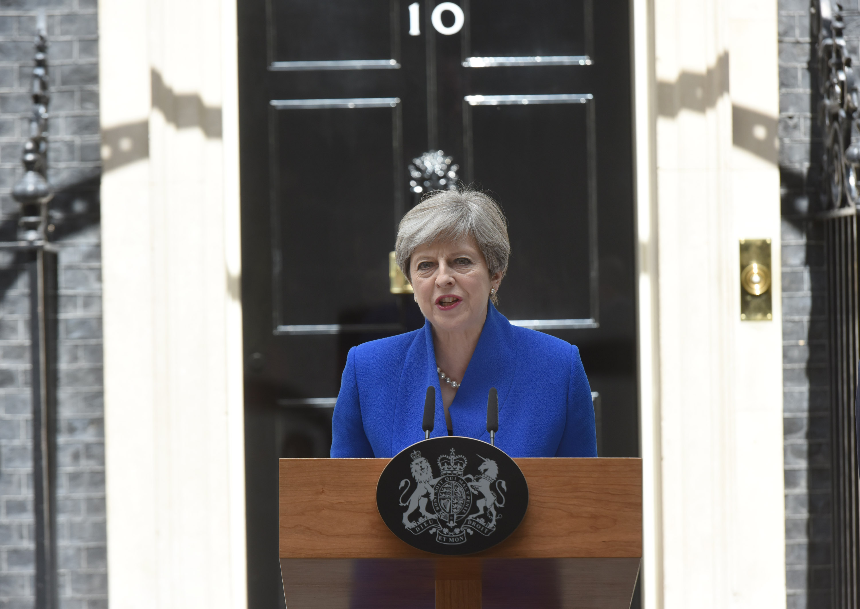 Prime Minister Theresa May outside No 10 Downing Street after the 2017 general election