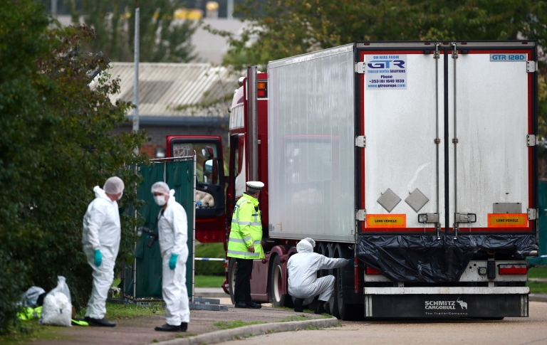 Forensic officers at the scene in Grays