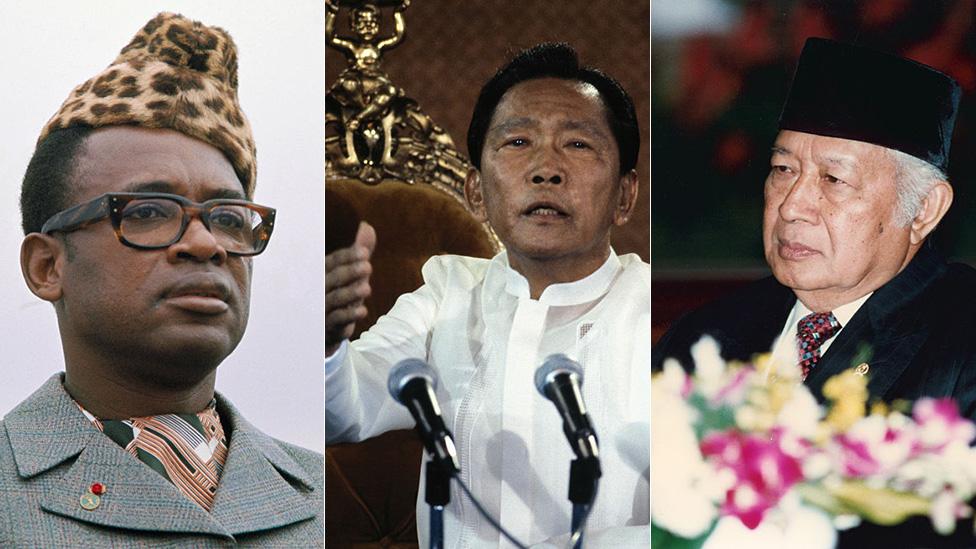Mobutu Sese Seko, Ferdinand Marcos, Mohamed Suharto.