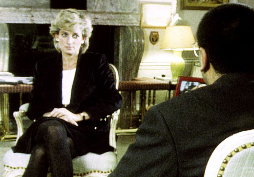 Princess Diana sits in front of Martin Bashir during the 1995 interview
