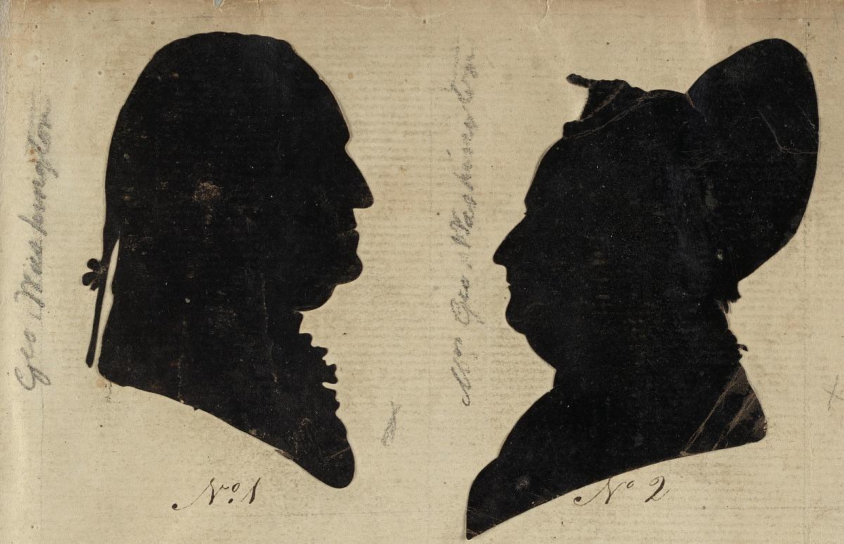 Silueta de George y Martha Washington.