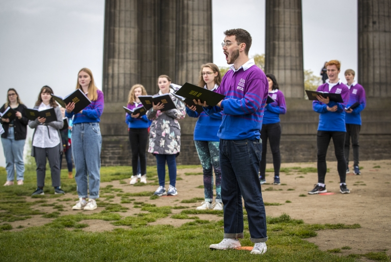The National Youth Choir of Scotland meet on Calton Hill, Edinburgh, to sing, 17 May 2021.