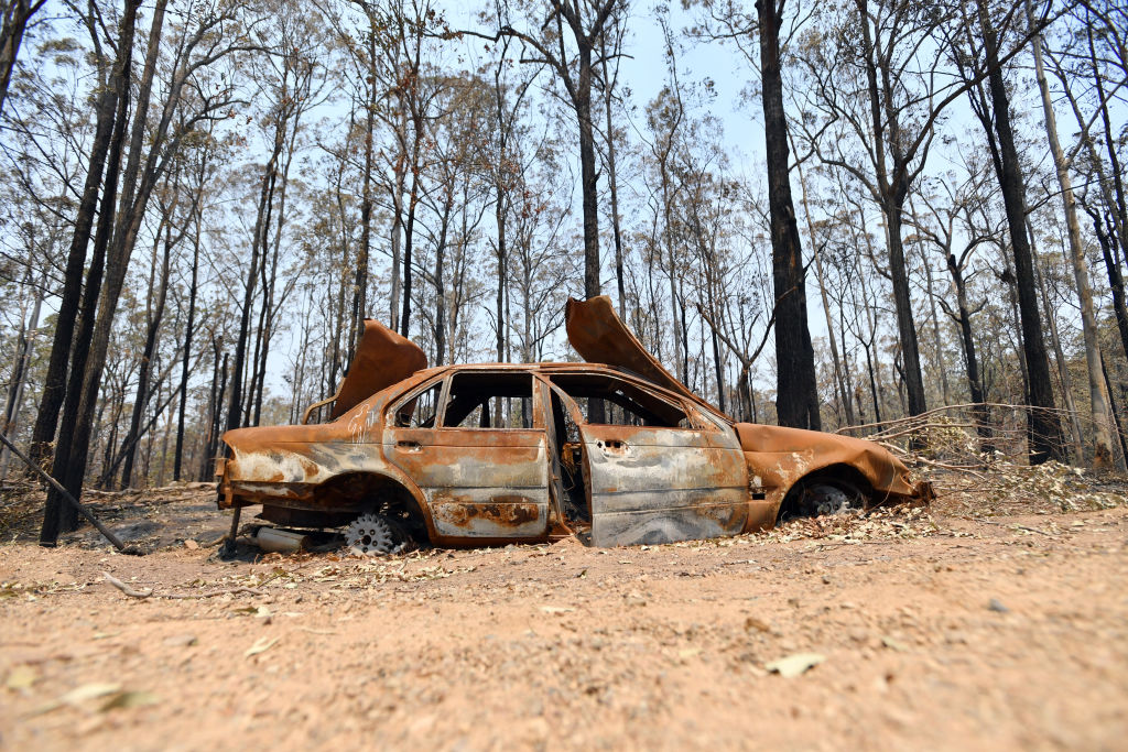Burnt out car after a bushfire in Australia.