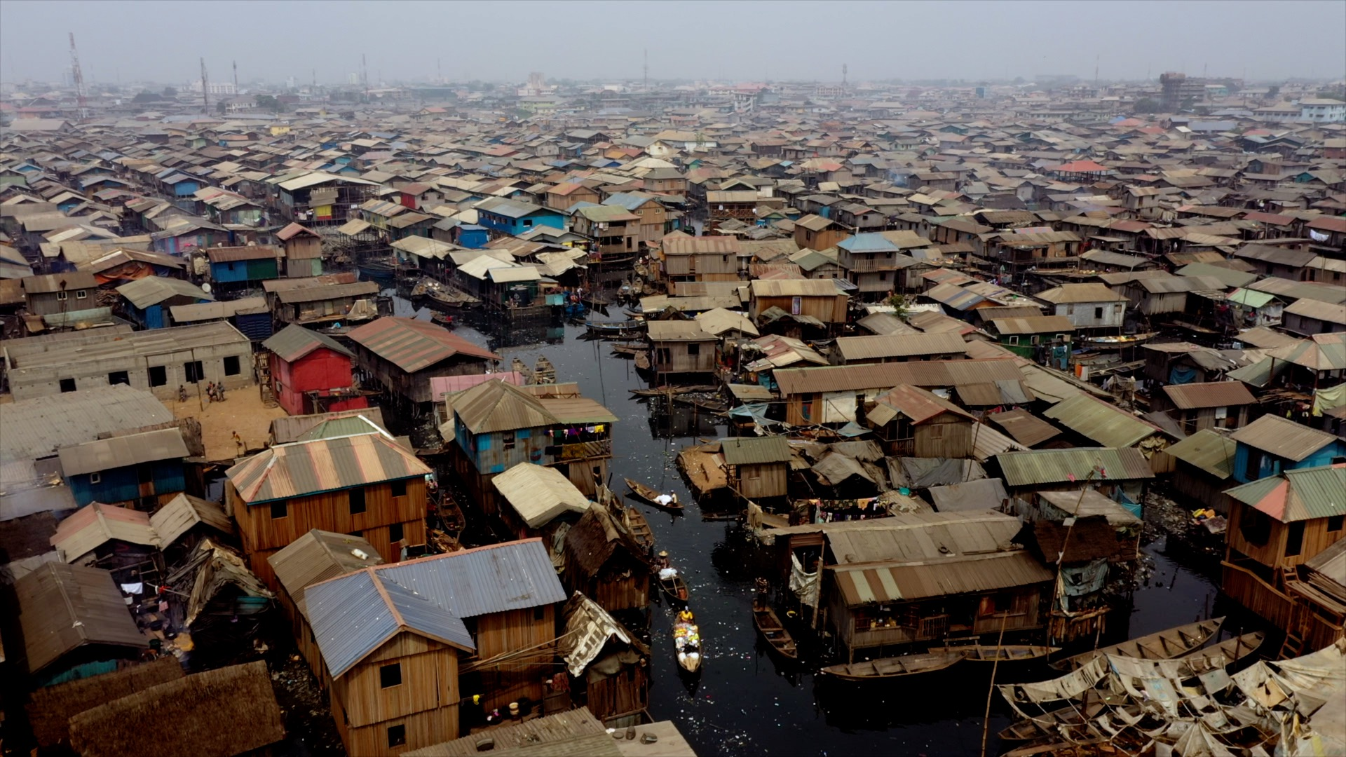 Aerial view of Makoko slum
