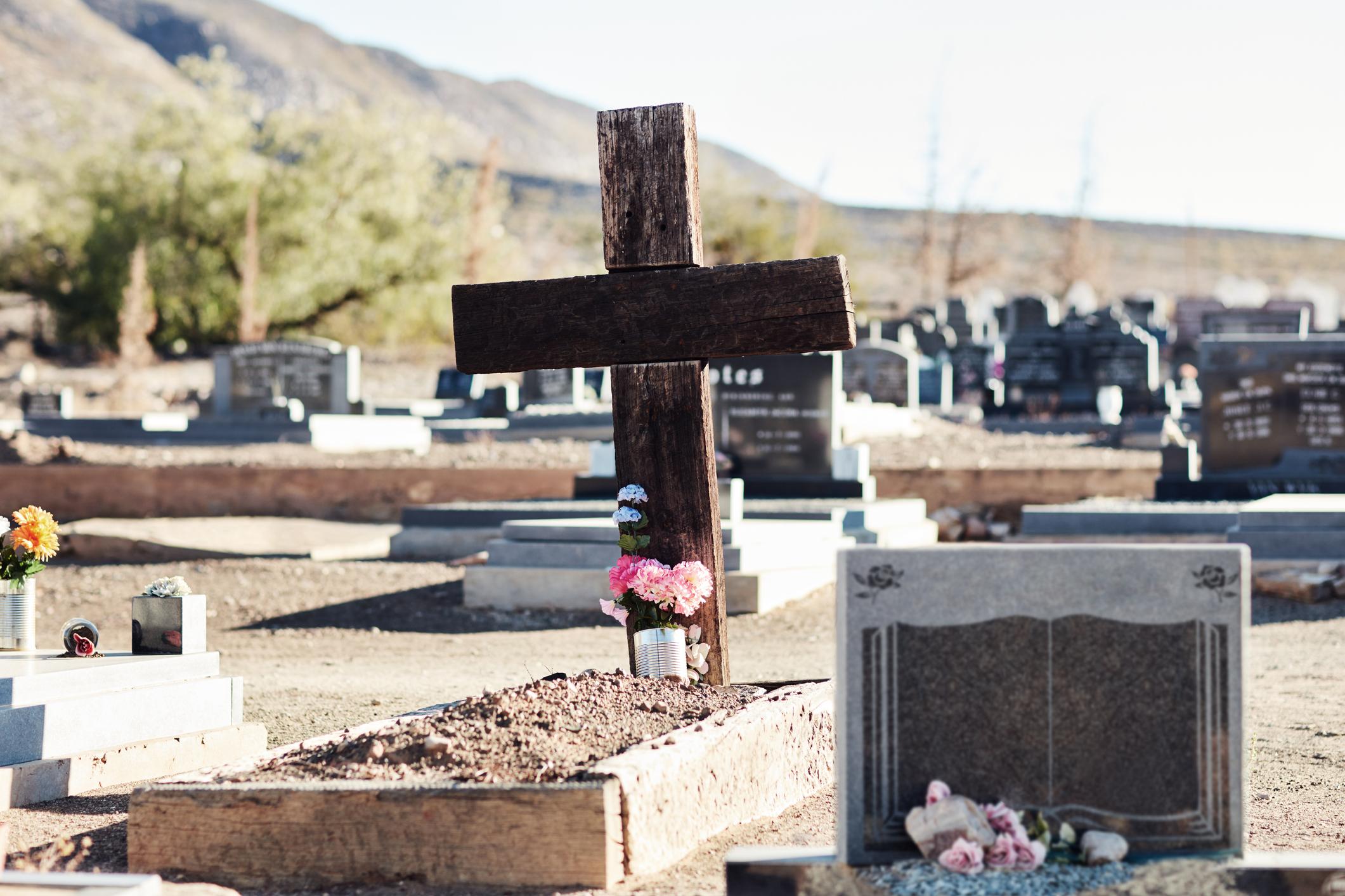 A crucifix headstone