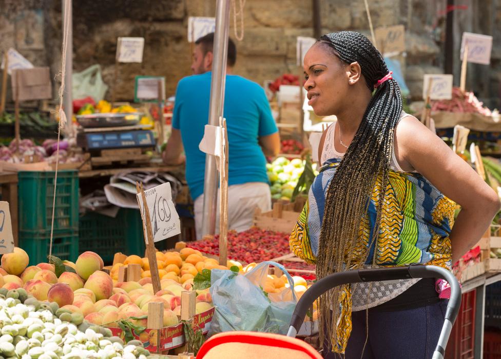 A market in the Ballarò suburb of Palermo in Sicily