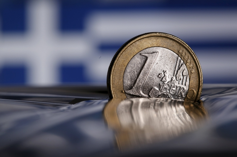 Euro coin with Greek flag