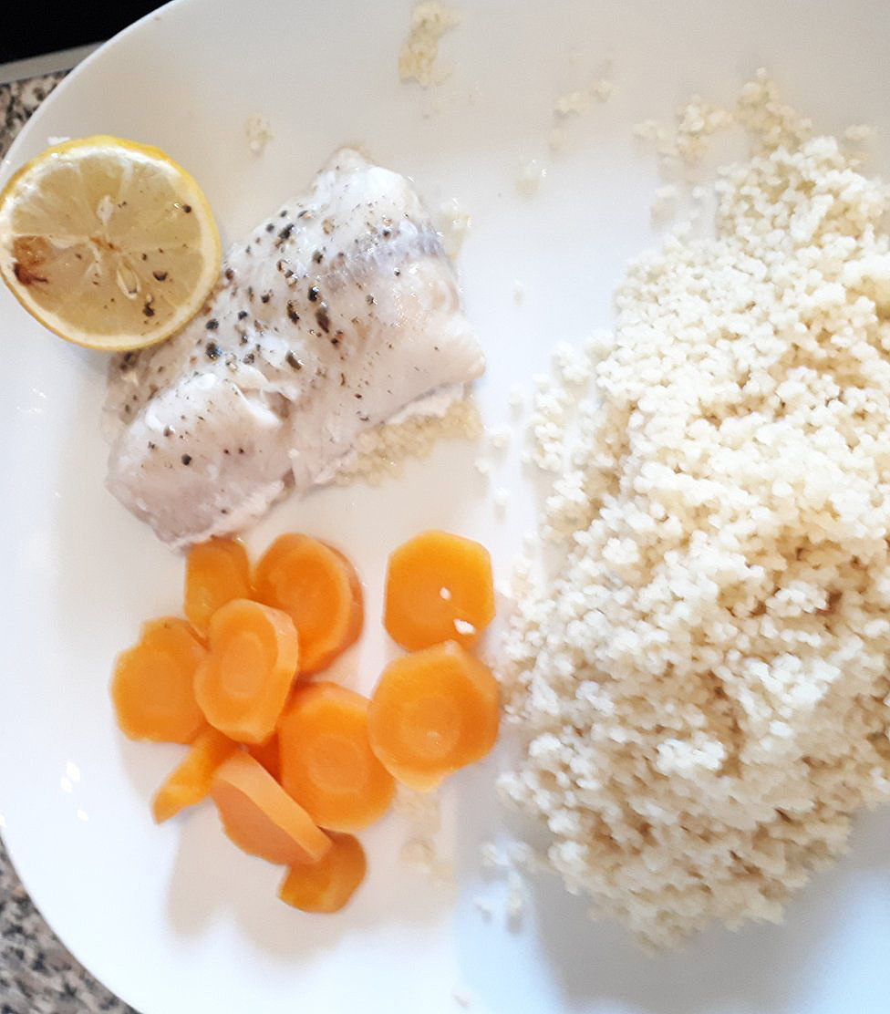 Lucy Holligan's cod, carrot and couscous