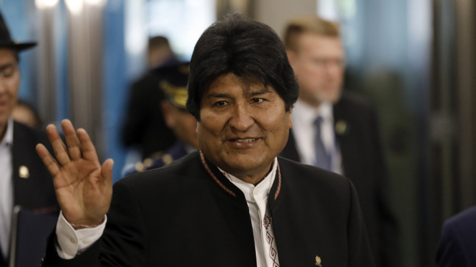 Evo Morales at the  United Nations in New York on 24 September, 2019.