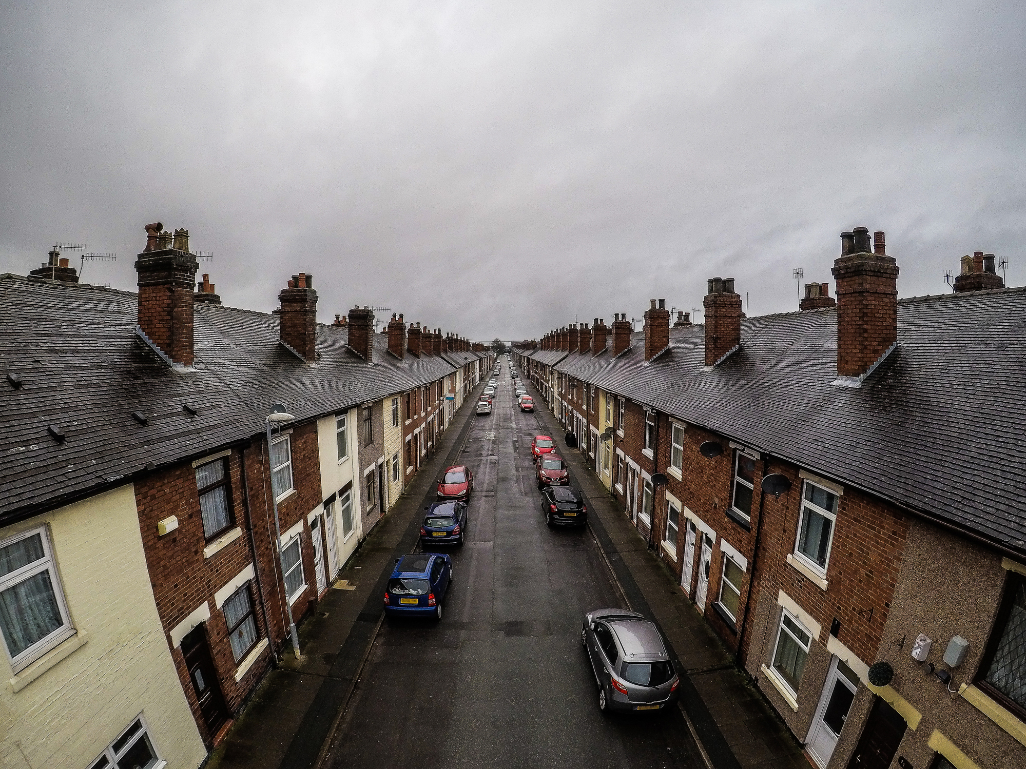 Aerial photograph of Oldfield Street in Fenton, one of Stoke on Trents poorer areas, Terrace housing, poverty and urban decline