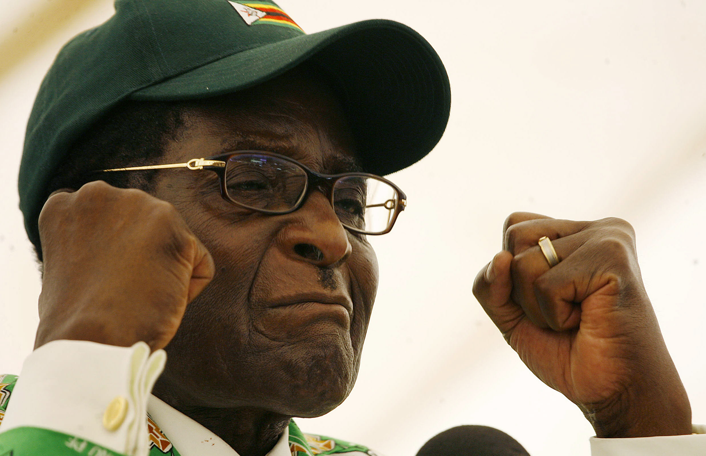 Robert Mugabe, pictured wearing a cap and clenched fists, during 2008 election rally
