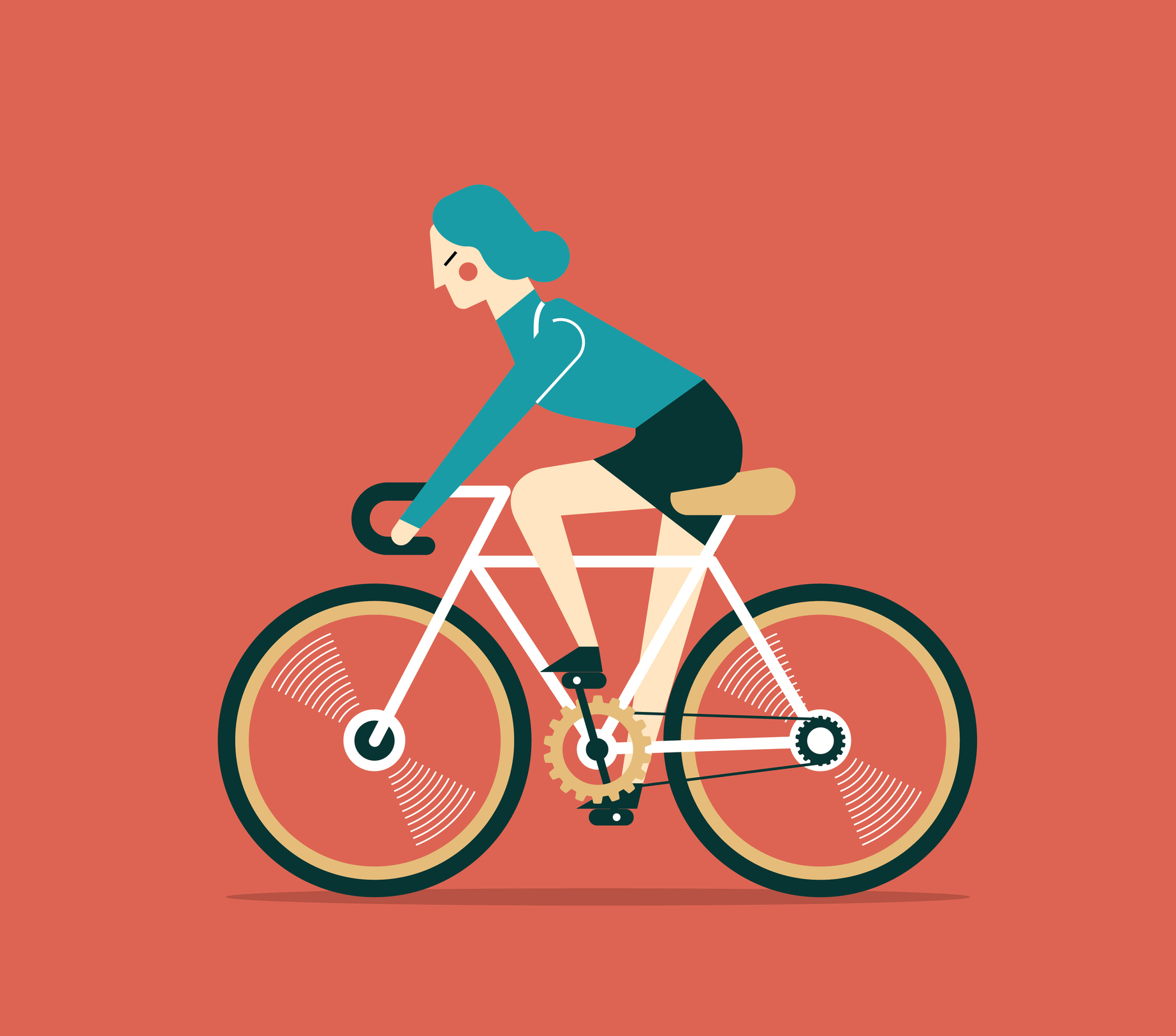 Cartoon of woman cycling