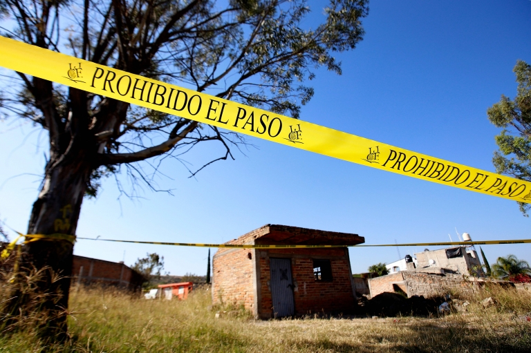 The area around a  mass grave discovered at El Mirador neighbourhood in Tlajomulco de Zuniga, Jalisco State