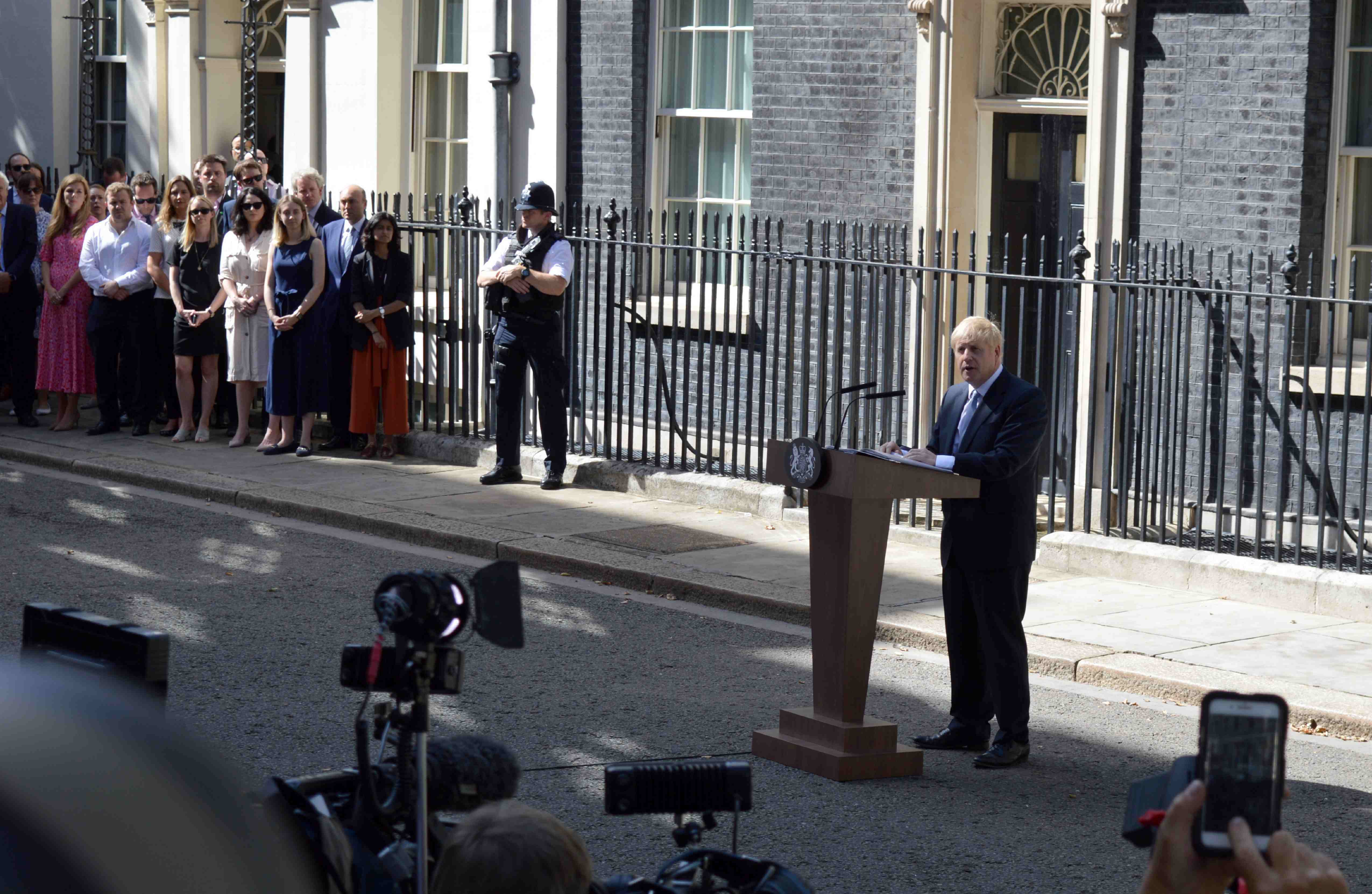 Boris Johnson outside Downing Street for his maiden speech as prime minister