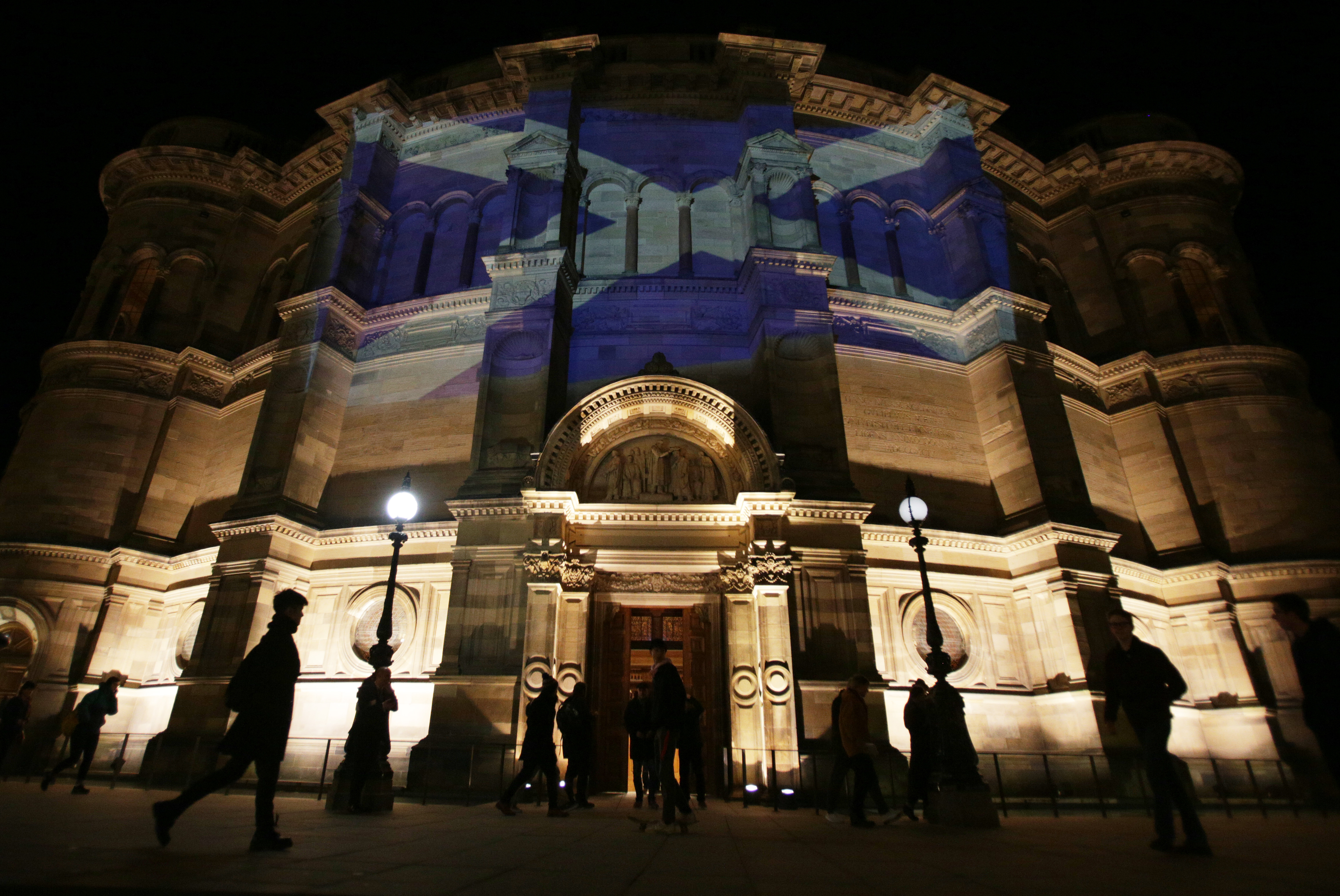 Scottish flag projected onto McEwan Hall