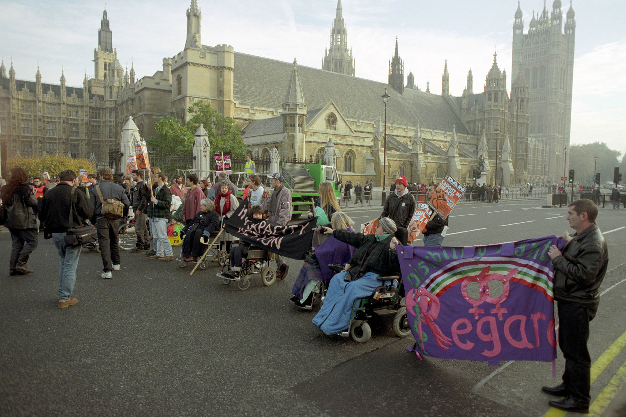 Protest outside parliament in 1995