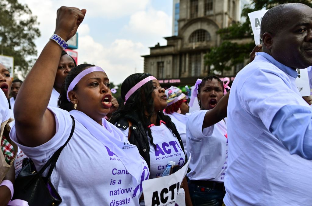 Cancer survivors, patients and activists take part in a protest on August 01, 2019 in the Kenyan capital Nairobi