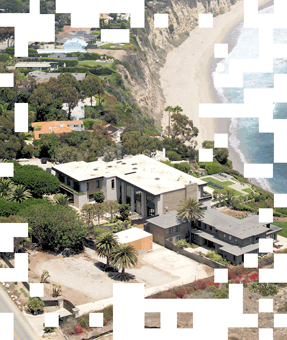 Drone image of the Malibu Mansion from above