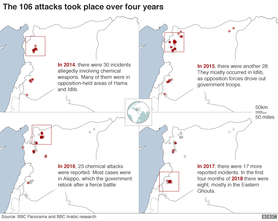 Series of maps showing alleged chemical attacks in Syria 2014-2018