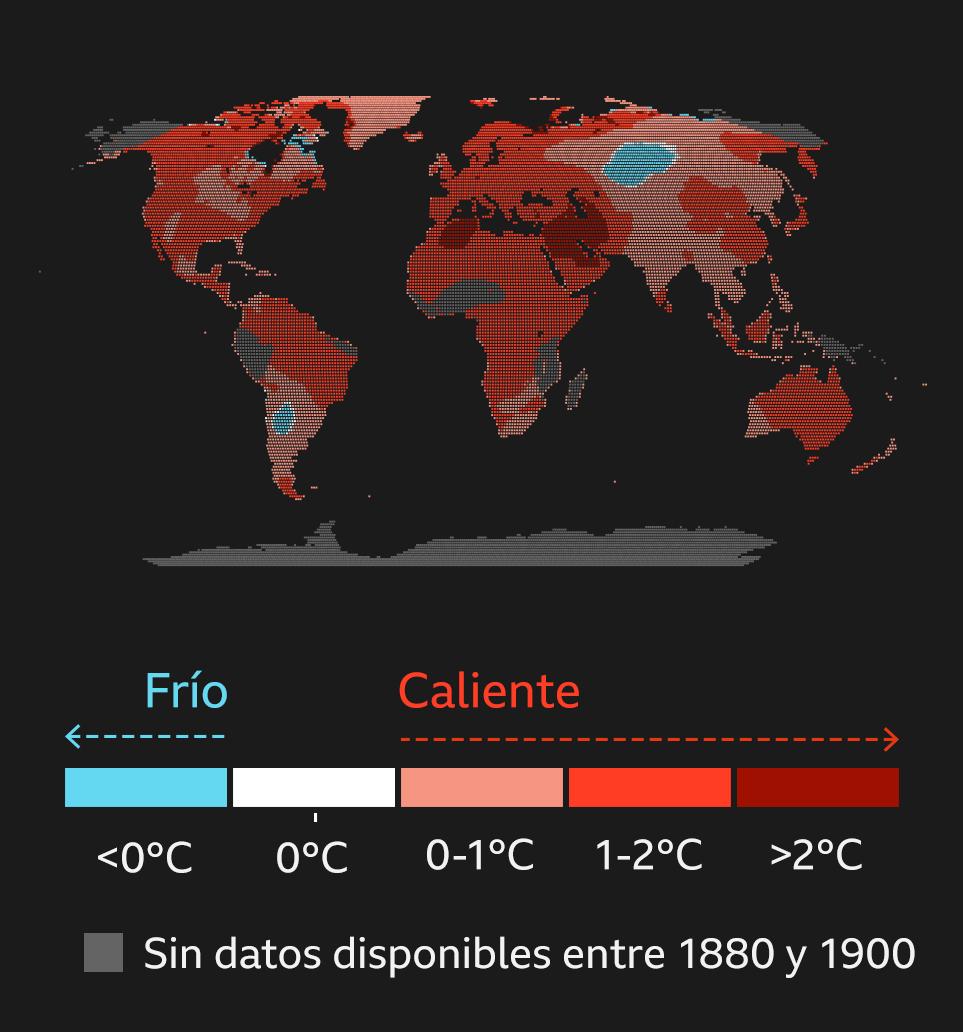 Mapa del cambio de la la temperatura global desde 1900