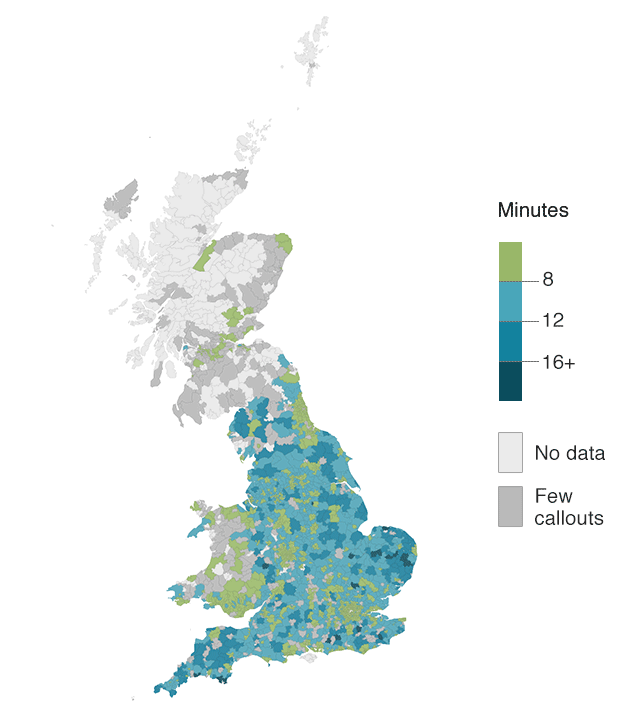 Average response time by postcode district