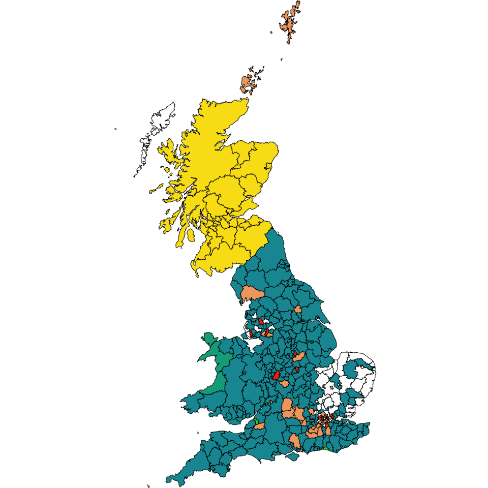 Map of Great Britain display a heading parties for any internal authority