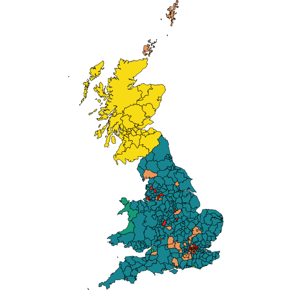 Map of Great Britain showing the leading parties for each local authority