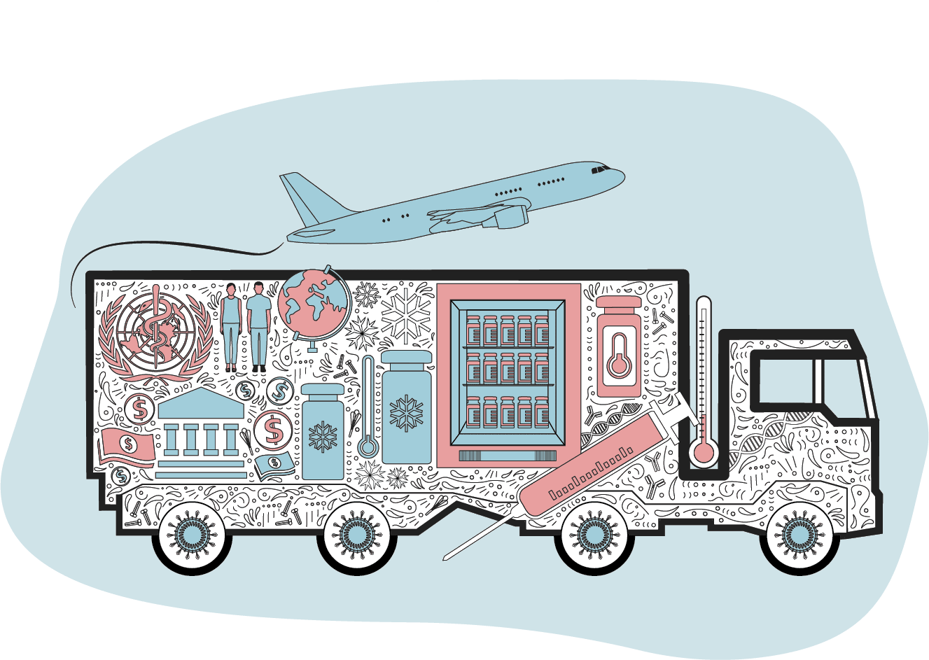 Illustration of how vaccines are transported in cold chains