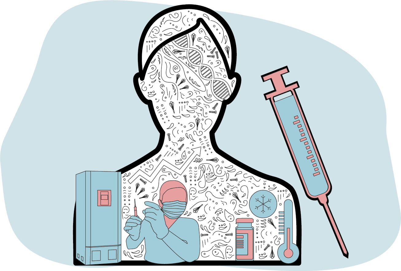 Illustration of how vaccines are given to patients