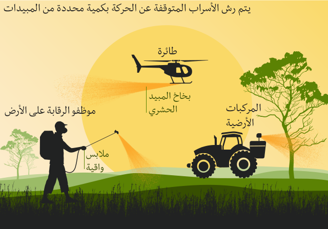 رسوم توضيحية تظهر كيفية مكافحة زحف الجراد باستخدام المبيدات، من خلال رشها من الطائرات أو المركبات الأرضية.