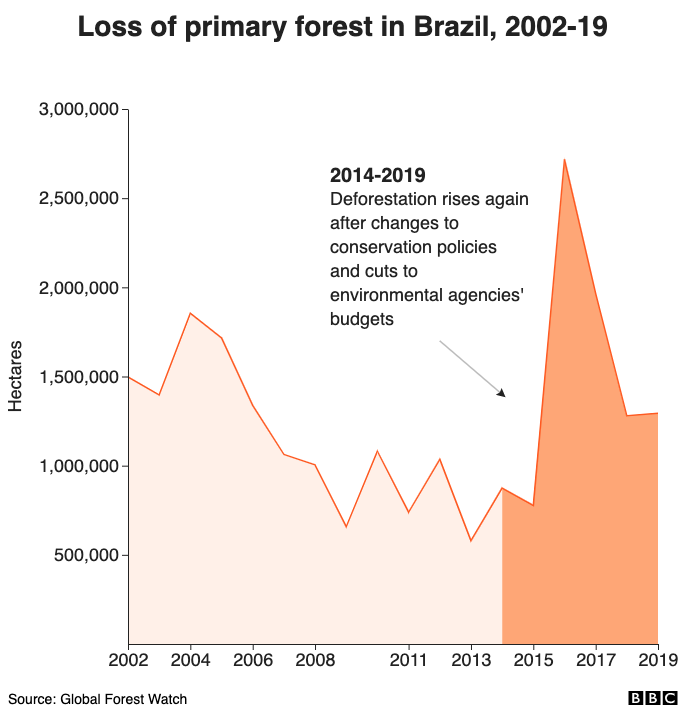 Loss of primary forest in Brazil, 2002-19