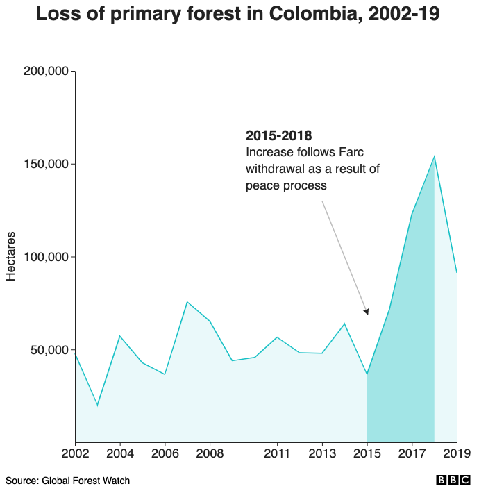 Loss of primary forest in Colombia, 2002-19