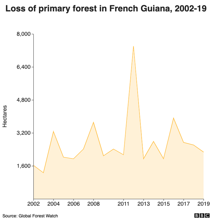 Loss of primary forest in French Guiana, 2002-19