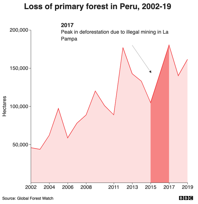 Loss of primary forest in Peru, 2002-18