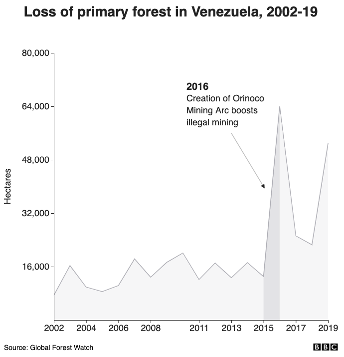Loss of primary forest in Venezuela, 2002-19