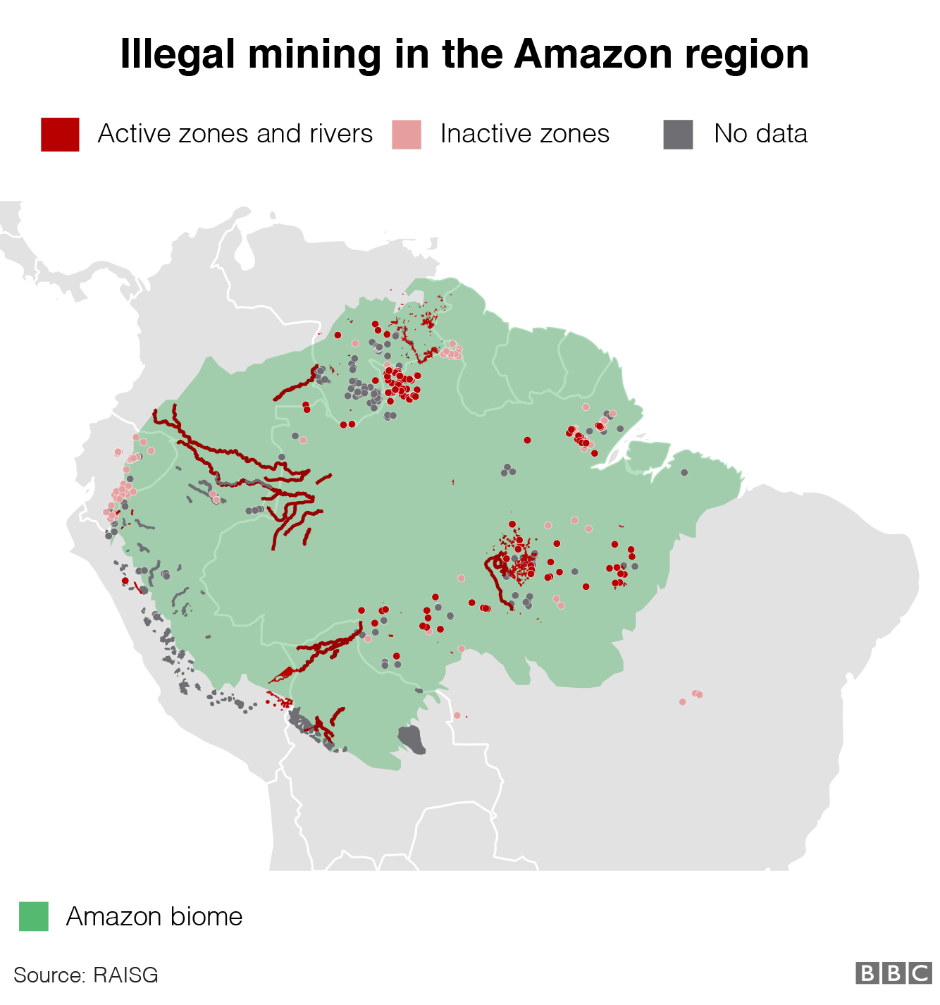 Graphic showing illegal mining in the Amazon
