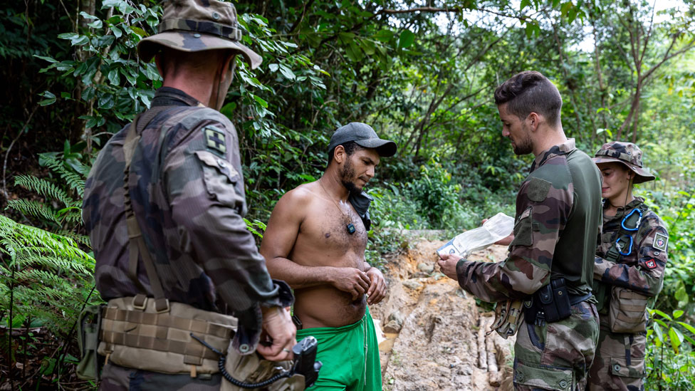 French Guiana soldiers search for illegal miners