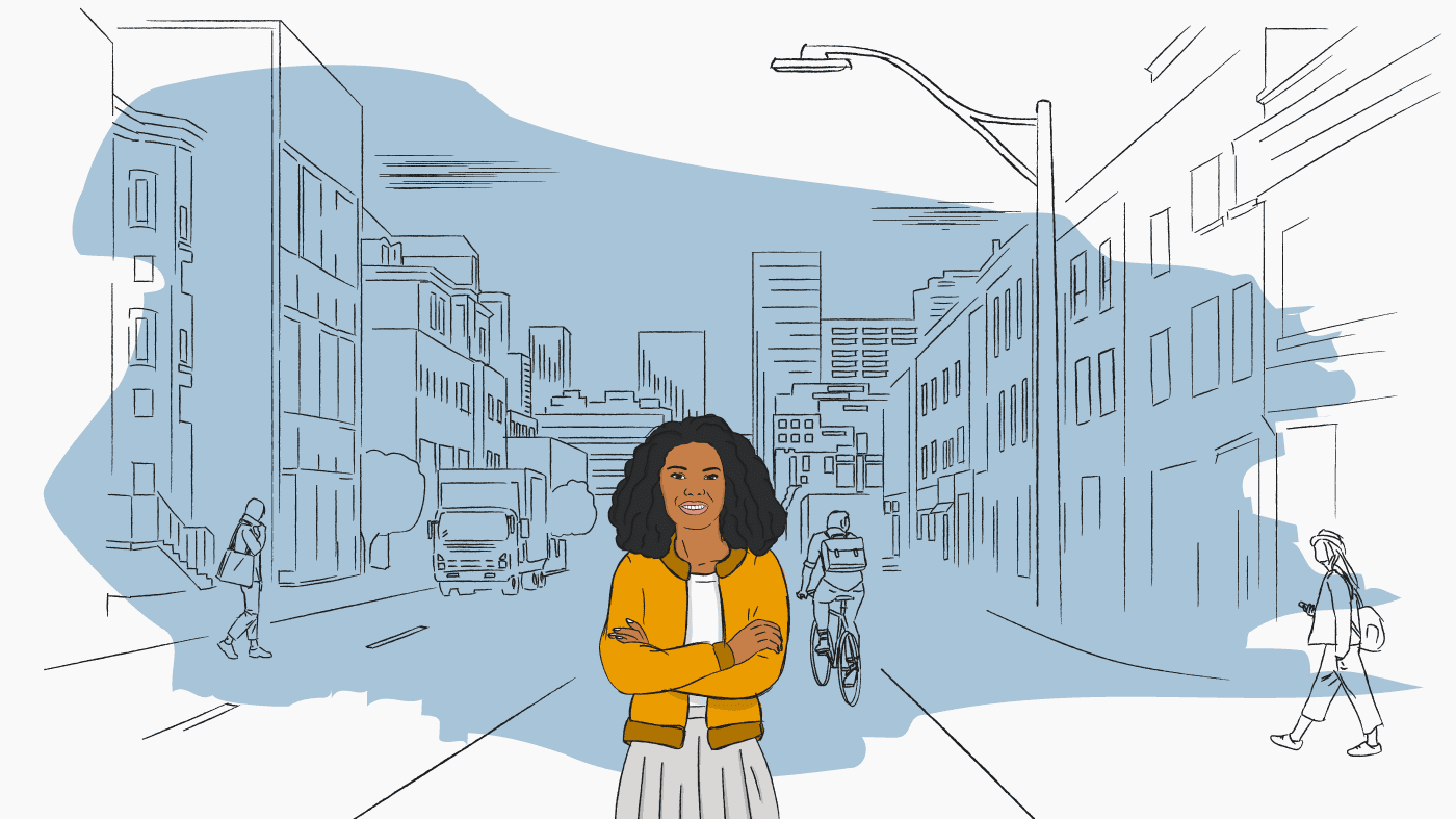 Illustration of a woman in a city