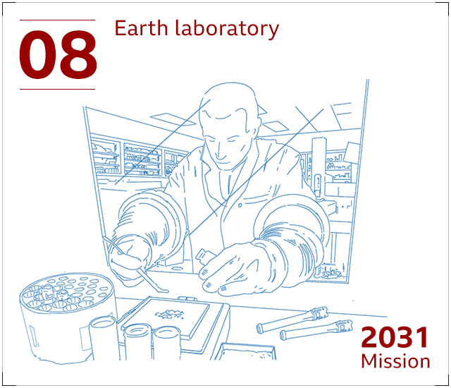 Martian rock samples being studied in an Earth laboratory