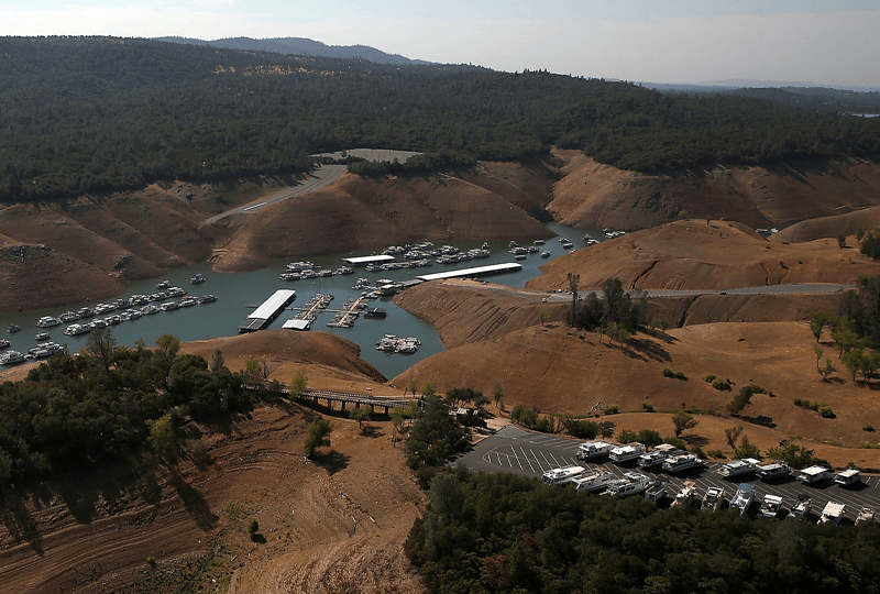 Photo of Bidwell Marina, Lake Oroville, California, in July 2014 after several years of drought