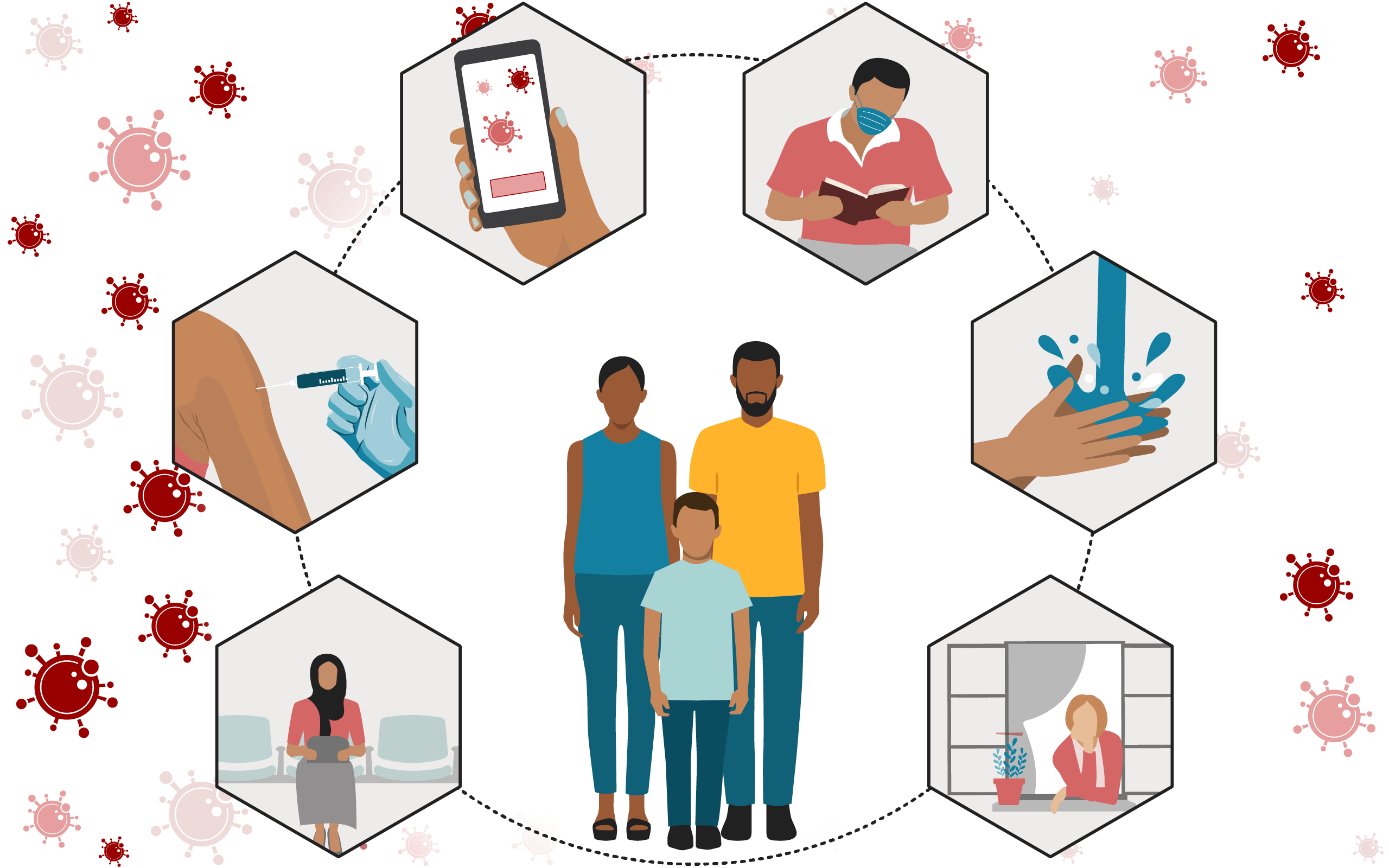 Illustration of a family and their options for reducing risk from coronavirus