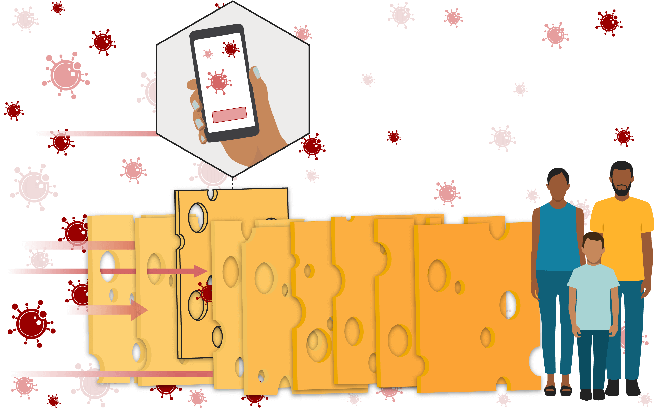 Illustration of a Swiss cheese, with a slice highlighted, representing tracing