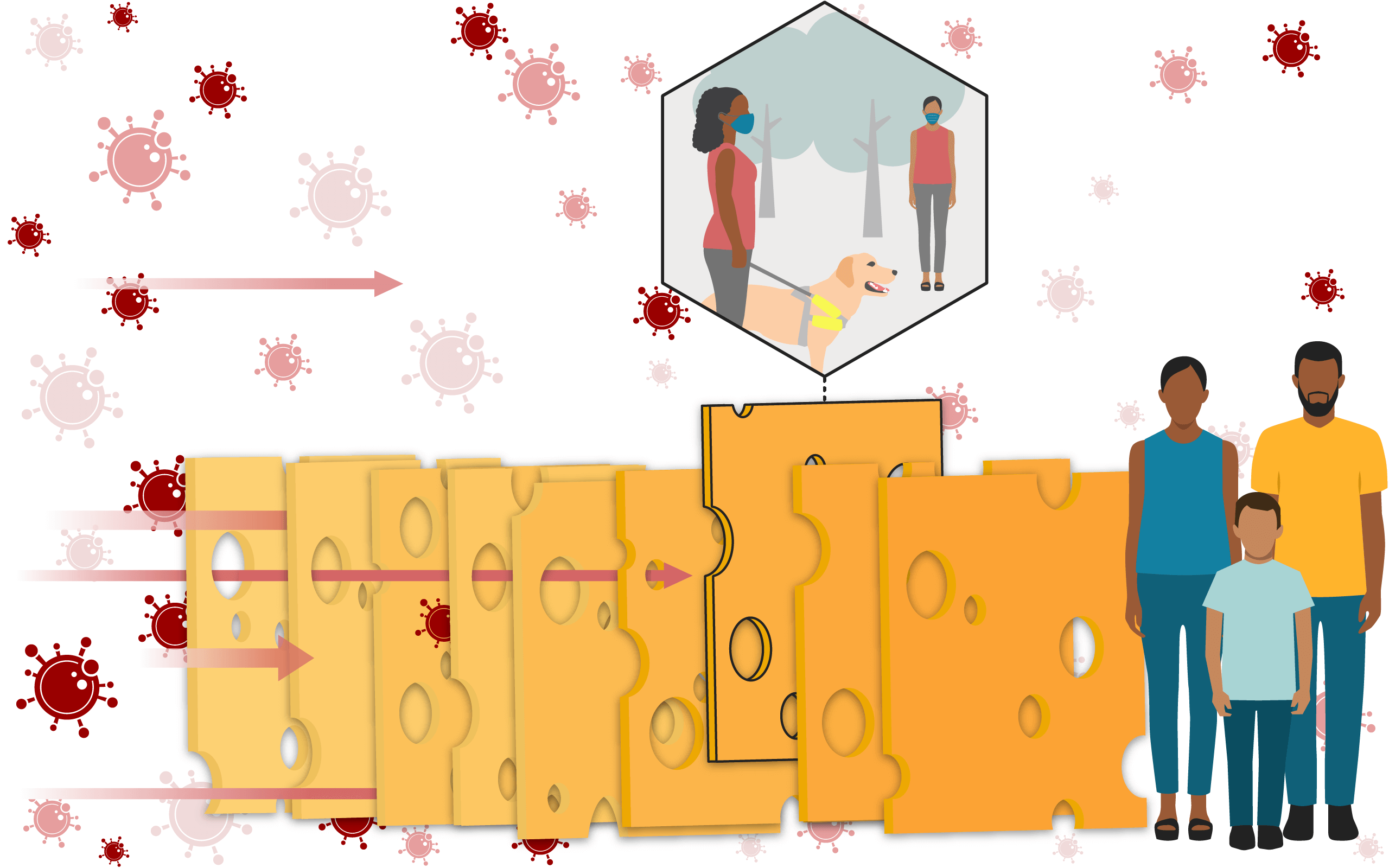 Illustration of a Swiss cheese, with a slice highlighted, representing socialising outdoors