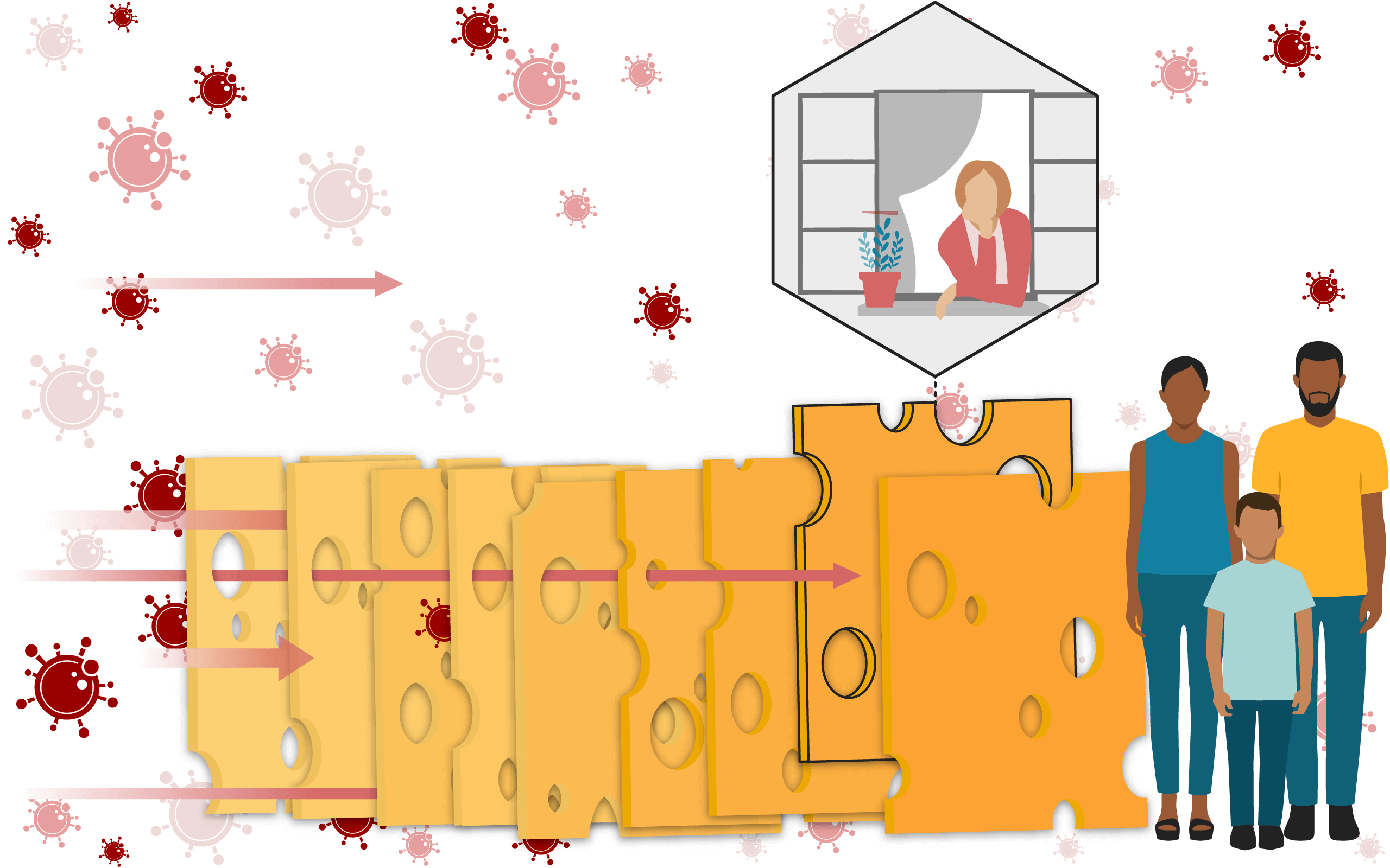 Illustration of a Swiss cheese, with a slice highlighted, representing opening windows