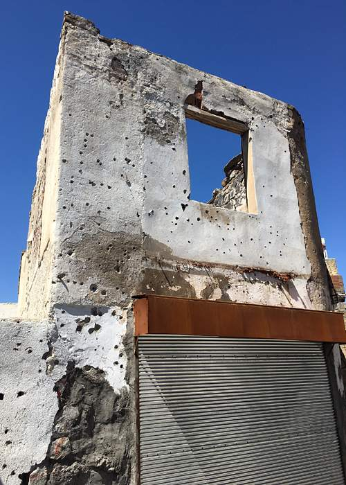 Bullet holes on a building in Diyarbakir